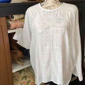 Vince Long Sleeve Scooped Neck Blouse White Sz-S